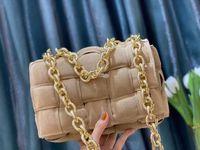 Mulheres Crossbody Bag com Cadeia de Metal Cadeia Acolchoado Cassete Bolsa em Camurça Mulheres Design Saco Frete Grátis