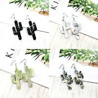 Lady Cactus a forma di orecchini in pelle gioielli gioielli due lati riunite PU Donna ciondolare orecchini fashion oardrop 3 71TP J2