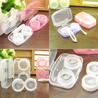 플라스틱 휴대용 아름다운 학생 상자 압축 결합 된 양면 상자 화이트 퍼플 투명 콘택 렌즈 케이스 0 8HQ J2