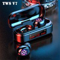 TWS V7 Bluetooth 5.0 Wireless Earphones Waterproof Sports Earbuds Business Mini Portable LED Digital Display Headset Music Headphones HOT