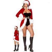 Рождественские платья Женщины Одежда Sexy Santa Claus Xmas Cosplay Костюм Красный Бархатный Пальто Пальто Планка Рянь Шляпа Рождественский Set1