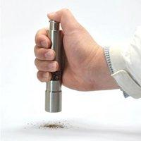 스테인레스 스틸 고추 엄지 푸시 소금 고추 그라인더 휴대용 수동 기계 향신료 소스 그라인더 주방 도구 VTKY2249
