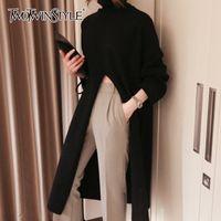Twotwinstyle tricotado black split feminino camisola de turtleneck manga longa grande coreano pulôver feminino 2020 outono moda novo lj201112