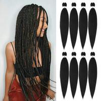 EZ 끈 머리 끈 머리 저온 합성 섬유 꼰 머리 크로 셰 뜨개질 머리카락 확장 아프리카 점보 쉽게 묶음