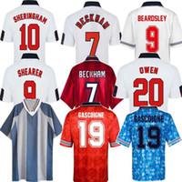 89 1990 91 92 93 96 98 2002 Ретро Classic Soccer Jersey Southgate Gascoigne Shareer Gerrard Owen Keegan Vintage футбольная футболка