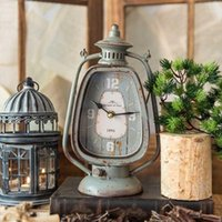 Antique Grey Handle Candle Lantern Shape Iron Clock European...