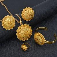 Anniyo Etiope Jewelry Sets Ciondolo Collane Orecchini Anello Braccialetti per le donne Gold Color Eritreo African Bride Regali # 207506 201222