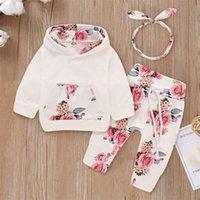 Patpat 2020 Venta caliente de la primavera y otoño Hermosa Floral Floral Hoodie Pantalones de la sudadera con capucha y la diadema Set Baby Toddler Girl Ropa LJ201223