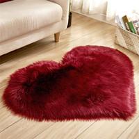Tapis en forme de coeur peluche de salon de salon imitation laine moquette chambre molle maison non glissée EEF3577