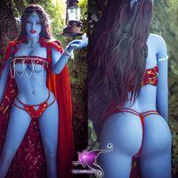새로운 공장 판매 158cm 라이프 라이우드 아바타 블루 스킨 컬러 큰 가슴 엘프 섹스 인형 3 섹스를위한 개구부