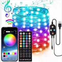 20-200 LEDs Luz de Fada Luz Inteligente Bluetooth LED String Lights Árvore de Natal Decoração Lâmpada App Controle Remoto Iluminação de férias