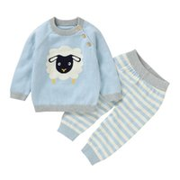 Outono inverno bebê menina menino roupas de manga longa desenhos animados cópia camisola criança coagulação blusa tops + calças calças casual traje conjunto y1113