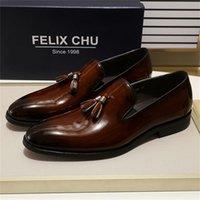 Felix Chu Patent Leather Men Tassel Loafer sapatos Black Brown Slip no vestido dos homens sapatos de casamento festa formal sapatos tamanho 39-46 201212