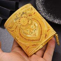 Wando Luxurio Braut 24k Gold Farbe Dubai Armreifen Für Frauen Afrikanische Äthiopische Armbänder Für Frauen Hochzeit Schmuck Party Geschenke Y1126