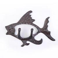 Rústico fundido de hierro arte ganchos de pared rack fuerte rodamiento creativo peces animales forma decoración del hogar sala de colgante sala de la sala MJ803141
