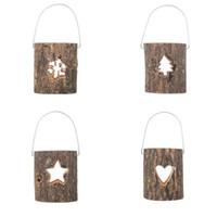Soporte de vela de tealight de madera Hollow Tree Heart Star Copo de nieve Candlestick Año Nuevo Día de San Valentín Decoración del titular