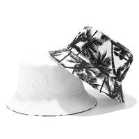 Yeni Tuval Balıkçı Şapka Erkekler Ve Kadınlar Baskılı Hindistan Cevizi Palm Çift Taraflı Kova Şapka Unisex Açık Seyahat Güneşlik Caps