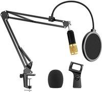 """Supporto per microfono con doppio filtro pop a strati Sospensione a forbiera Bracket Bracket Brack Brack con adattatore da 3/8 """"a 5/8"""""""