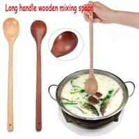 Cucharas de estilo japonés mango largo cuchara de madera Sopa de madera maciza natural Sopa de sopa de vajilla suministros de cocina