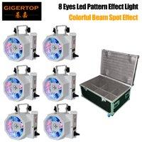 8 Светодиодные плоские Par RGBW Цветное освещение стробосков DMX контроллер вращающейся вспышки лазерной лазерной лазерной лампы звук активированный мяч