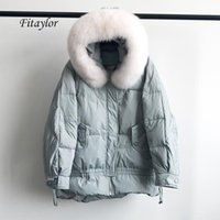 Fitaylor New Winter Large Natural Fur Hooded Jacket Warm 90% White Duck Down Parka Women Loose Thickness Snow Down Outwear
