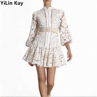 YiLin Kay Self-Portrait Runway Water Soluble Lace Dress Hollow-out embroidered bubble sleeves Party Dresses vestidos F1202