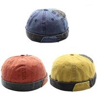 خمر الهيب هوب الرجال قبعة غسلها القطن الرجعية skullcap تعديل brimless قبعة المالك تنفس قبعة البحار كاب 1