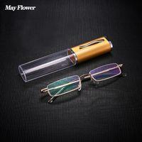 선글라스는 꽃 미니 절반 프레임 독서 안경 금속 스프링 힌지 노회 안경 펜 안경 + 3.5 + 4.0