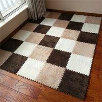 9pcs/set 30cm/piece Puzzle Mat EVA Foam shaggy velvet Carpet door mat Jigsaw Mat plush fabric Carpet Area Rug Room Floor Mats 201212