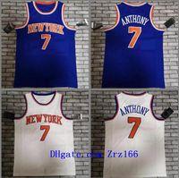 Uomini Basket New City York Team Carmelo 7 Anthony 2020-21 Blue White City Senza maniche Jersey e pantaloncini