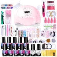 Kit de uñas Juego de esmalte de gel con lámpara LED UV Extensión del gel de acrílico de acrílico Nail Art Salon Manicure Set Machine Talad Herramientas NF1574-1