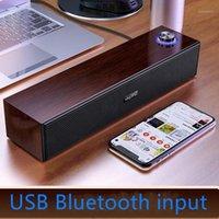مزيج المتكلمين السلكية المتكلم مضخم صوت عمود 3D ستيريو خشبية بلوتوث USB الكمبيوتر الذكي سطح المكتب تحيط الصوت Loudspeaker1