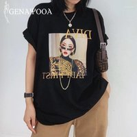 T-shirt da donna Genayoaa T-shirt T-shirt coreane Donne Manica corta Stampa Casual Harajuku TEE Tops O Neck Shirt Femme 2021 Summer Streetwear1