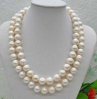 Anhänger Halsketten 2-reihig Natürliche seltene weiße 10-11mm Süßwasserperlenkette 18inches