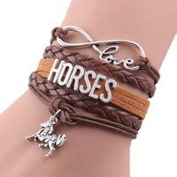 Бесконечность Love Horse Bracte Bracte Horse Charm Кожаная Кожа Обертка ручной работы Браслеты Браслеты для женщин Ювелирные Аксессуары