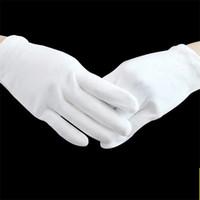 Yetişkinler Çocuklar Beyaz Eldivenler Tören Desenler Için Parti Polis Parmak Eldiven Thichen Pamuk Katı Renkler Unisex Mittens Golve S-XL F112702
