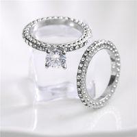 Novo ouro branco claro branco cz zircon casamento anel de noivado para mulheres moda pedras preciosas cristal 2 pcs / set anéis baga sj