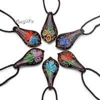 Yingwu Großhandel 6 stücke Blumenaussage Schmuck Blatt Murano Glas Anhänger Mischfarben Lampwork Glas Halskette1