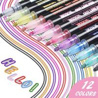 12 색 금속 반짝이 다채로운 컬러 개요 학교 용품 아트 펜을 그리기위한 카와이 마커 더블 라인 201125
