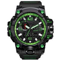 새로운 남성 군사 스포츠 시계 아날로그 디지털 LED 시계 충격 저항 방지 손목 시계 남성 전자 실리콘 시계 선물 상자 몽트레 드 Luxe