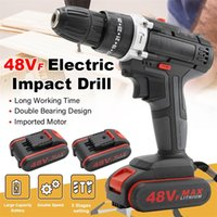 48VF Electric Drill Impact Drill Cordless Drill Wrench Electric Screwdriver Set with LED 2 Speed+Battery For Home Household 201226