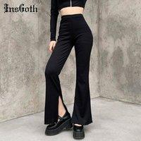 Insgoth Harajuku Yarık Siyah Gotik Pantolon Goth Yüksek Bel Flared Pantolon Streetwear Punk Chic Seksi Sekretik Kadın Pantolon