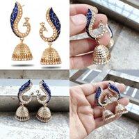 Peacock Lantern Stop Kolczyki Biżuteria Kobiety Kryształ Millet Koralik Retro Fashion Plated Gold Dangle Kolczyk Etniczny Styl 3 3SP J2