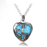 Anhänger Halsketten Aussage Halskette 2 Farbe Silber Überzogene Marcasit Blue Black Stone Heart Metal Kette Schmuck