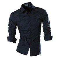 Herrenhemden Jeansian Herrenmode Mode Lässig Hemden Button Down Langarm Slim Fit Designer 8001 Navy