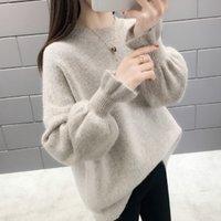 Qrwr 2020 осень зима корейский свитер повседневная o шеи сплошной трикотажный пуловер свободный всплеск рукава элегантные свитеры женщины