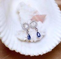 Mdina Sri Lanka Sapphire Pendientes de flores de piedras preciosas Real 925 Pendientes de moda de plata Joyería del encanto fino para las mujeres