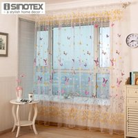 Cortina cortinas 1 pçs / lote janela borboleta impresso tule voile tecido transparente puro para casa sala de estar