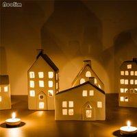 Cerámica nórdica candelabro creativo Casa creativa con forma de vela Romántico Cena de Candlelight Cena Props Body Fiesta Decoración Y200109