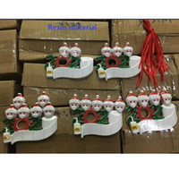 2020 Christmas Quarantine Ornaments Customize Gift Survivor Family Hang Decoration Snowman Pendant With Face Mask Hand Sanitizer HH9-3274